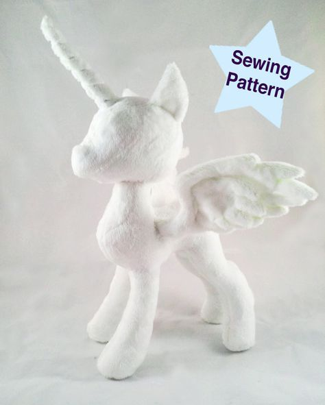 **UPDATE!** If you purchased this pattern prior to April 16th 2016, youre due for an update! Send me a convo with your preferred e-mail address to get it sent to you!  Princess pony pattern is here! Create your own Princess plushie! Pattern comes as a PDF file. Contains 7 pages of printable pattern and 4 pages of detailed instruction. Comes with: -eyes and cutie mark -horn and open wings -body and head -Does NOT include closed wings or mane and tail -Does NOT include Seam Allowance  Best resu...