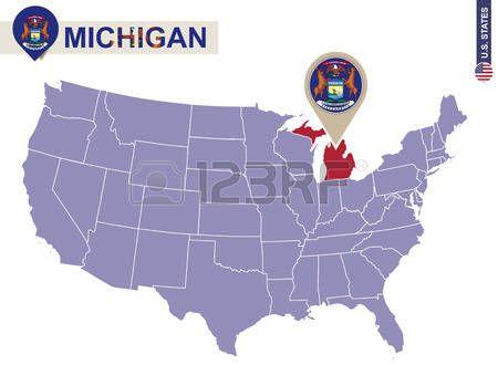 Estado De Michigan En EEUU Mapa Bandera De Michigan Y El Mapa - Mapa de michigan