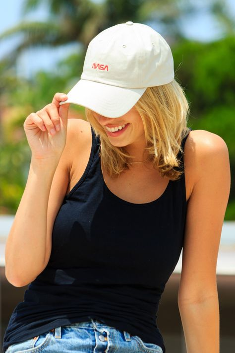ba41baaa14f DEETS Dad hat with metal clasp closure Curved brim  unstructured crown   grommet ventilation Letter embr…
