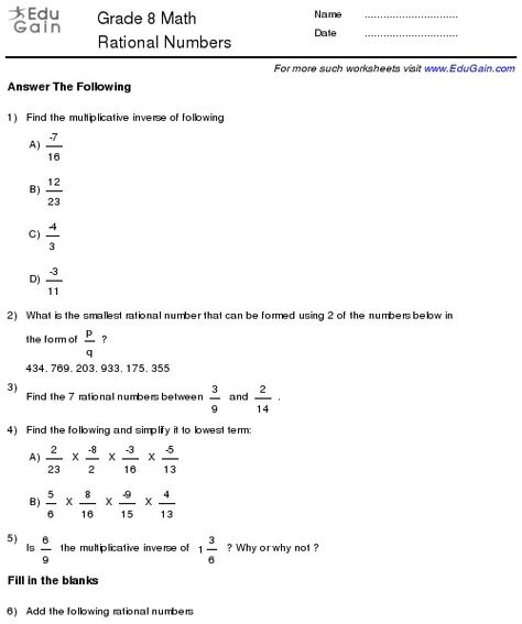 Class  Rational Numbers Worksheets  Grade  Rational Numbers