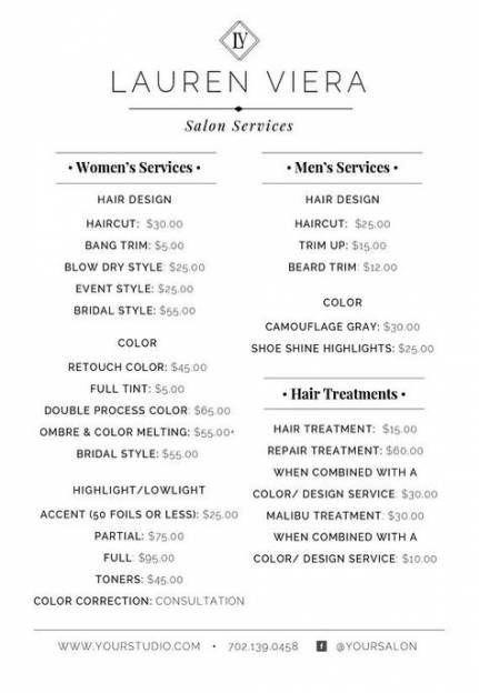 52 Ideas Makeup Artist Price List Template Salon Menu Hair Salon Price List Hair Salon Prices