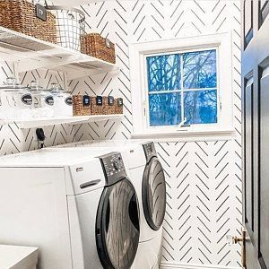 Moderno Y Delicado Fondo De Pantalla De Espiga En Blanco Y Etsy 1000 Laundry Room Wallpaper Laundry Room Diy Laundry Room Makeover