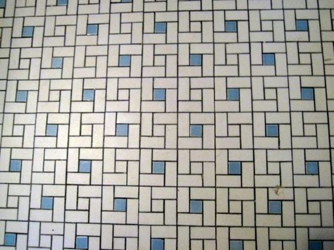 1940's blue bathtubs | classic tulsa bathroom tile floor in white