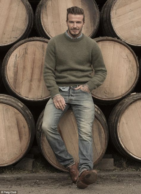 Whisky is currently having a renaissance around the world, in part thanks to famous fans such as David Beckham, pictured here in front of the casks whisky is matured in