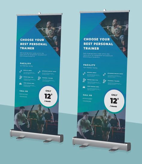 Gym Roll-up Banner Template AI, EPS