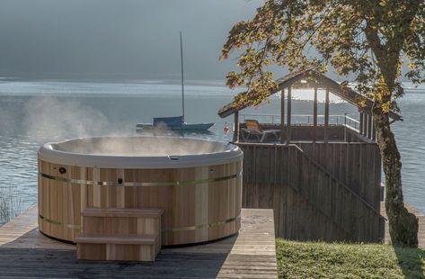Round Hot Tub In Cedar Round Hot Tub Hot Tub Landscaping Cedar Hot Tub
