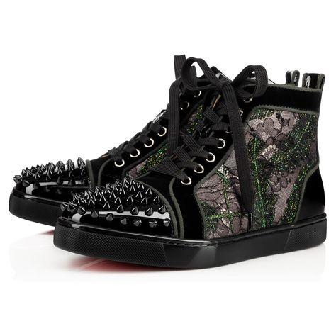 CHRISTIAN LOUBOUTIN LOU SPIKES WOMAN ORLATO PATENT VEAU VELOURS Black Lace  - Women Shoes - Christian Louboutin.  christianlouboutin  shoes   068824e938