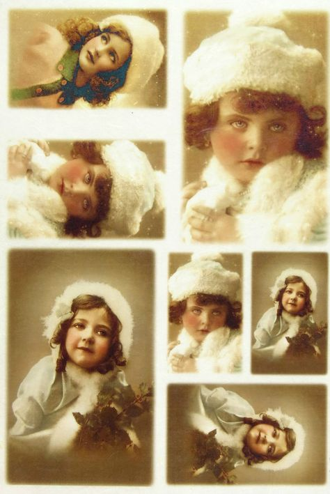 Scrapbooking Sheet Old Pictures Girls in Winter Rice Paper for Decoupage