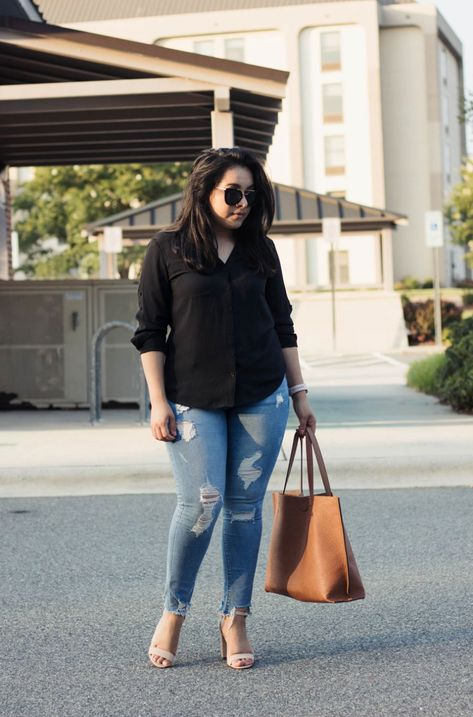 How to style a black blouse during summer - express top express jeans charlotte russe heels