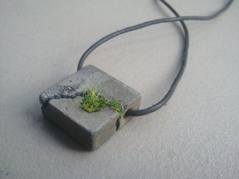 Concrete Pendant - Natural gray sidewalk like crack with grass street art(Diy Necklace Pendant)