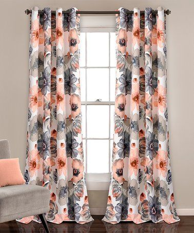 This Coral Gray Leah Room Darkening Curtain Panel Set Of Two Is Perfect Zulilyfinds Lush Decor Room Darkening Curtains Floral Curtains