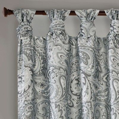 95 X50 Elodie Paisley Printed Light Filtering Window Panel Gray Panel Curtains Home Essence Paisley Curtains