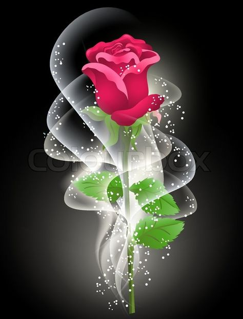 Stock vector of 'Rose and smoke on the black background'