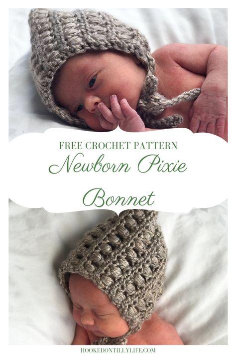 Pixie Bonnet - Free Crochet Pattern — Hooked On Tilly Baby Bonnet Pattern Free, Crochet Baby Bonnet, Crochet Bebe, Crochet Gratis, Free Crochet, Newborn Crochet Patterns, Baby Clothes Patterns, Hat Patterns, Babies Clothes