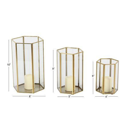 Cosmoliving Large Modern Metallic Gold Metal Glass Candle Holders With Hexagon Silhouettes Set Of 3 6 X 10 5 X 8 4 X 6 Walmart Com Candle Holders Glass Candle Holders Glass Candle