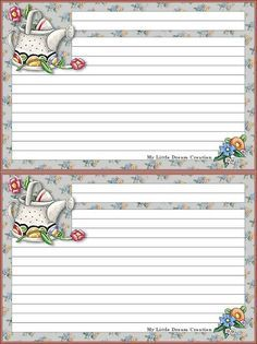 recipe cards watering cans