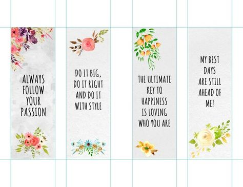 Motivational Bookmarks Template Quote Bookmarks Printable Bookm