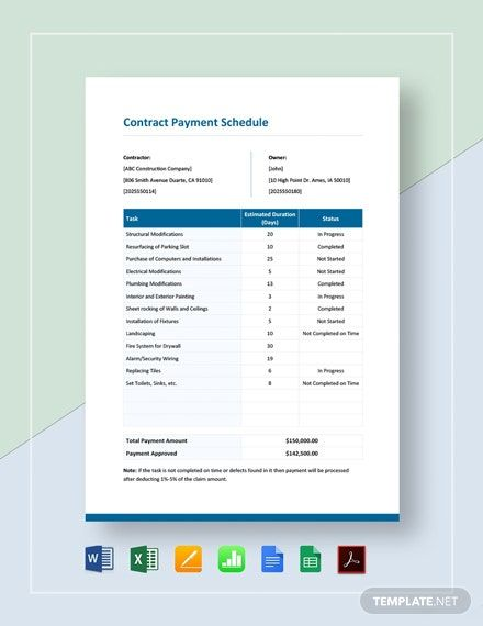 Construction Contract Payment Schedule Template Pdf Word Excel Apple Pages Google Docs In 2021 Schedule Template Payment Schedule Schedule Templates Design