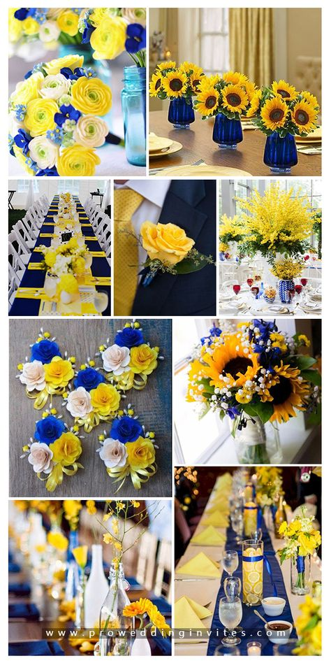 Elegant Navy and Yellow Wedding Ideas to Have - Wedding Colors Blue Sunflower Wedding, Sunflower Wedding Decorations, Sunflower Party, Fall Sunflower Weddings, Sunflower Centerpieces, Sunflower Dress, Blue Yellow Weddings, Ocean Blue Weddings, Yellow Wedding Colors