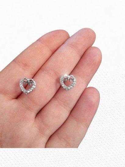 حلق فضة عيار 925 حلق فضة ايطالى اطفال قلب Diamond Earrings Engagement Rings Earrings