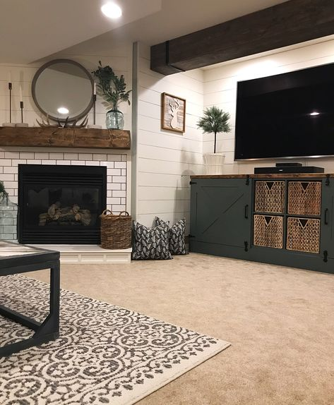 Basement Family Room Before and After Cozy Basement, Basement Living Rooms, Basement Fireplace, Rustic Basement, Living Room Redo, Basement Makeover, Basement Renovations, Basement Ideas, Rec Rooms