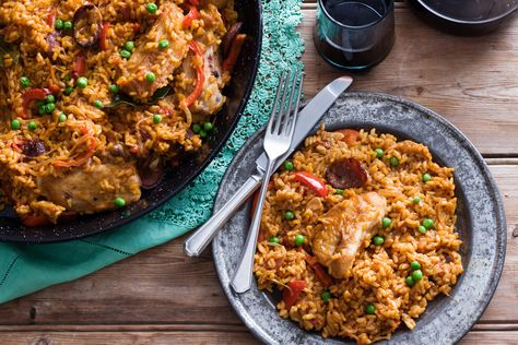 This simple Spanish chicken and rice dish is a colourful and flavoursome main. Serve it straight from the skillet at your next dinner party.