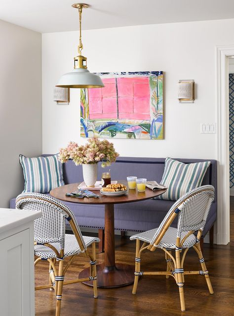 These small dining areas offer a cozy spot to enjoy morning coffee and casual meals. Learn how to tuck a breakfast nook just about anywhere with these ideas for storage and design. #breakfastnookideas #eatinkitchen #breakfastnookbench #bhg