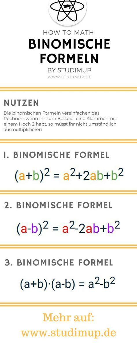 Die Binomischen Formeln Leicht Erklart Mathe Lernen Leicht Gemacht Mathematik Lernen Im Gymnasium Und Der Realschule Mathematik Lernen Nachhilfe Mathe Mathe