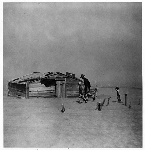 Farmer and sons, dust storm, Cimarron County, Oklahoma, 1936. Photographer: Arthur Rothstein.  The drought that helped cripple agriculture in the Great Depression was the worst in the climatological history of the country. By 1934 it had dessicated the Great Plains, from North Dakota to Texas, from the Mississippi River Valley to the Rockies. Vast dust storms swept the region.