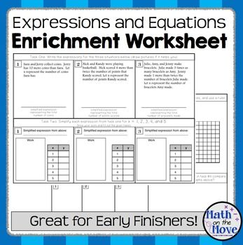 Expression And Equation Enrichment Worksheet 7 Ee 2 And 7 Ee 3 Simplifying Expressions Teaching Math Math