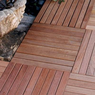 Ez Floor 12 X 12 Teak Wood Snap In Deck Tiles In Oiled Deck Flooring Deck Tiles Outdoor Deck