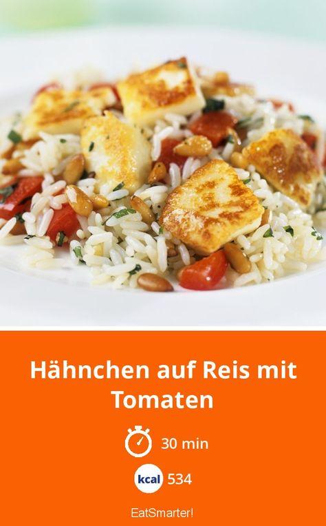 Leichtes Mittagessen: Hähnchen auf Reis mit Tomaten - 534 kcal - einfaches Gericht - So gesund ist das Rezept: 9,0/10 | Eine Rezeptidee von EAT SMARTER | Braten, Einfach, für 4 Personen, Schnelle Rezepte, Studentenküche, Fleisch, Geflügel, Gemüse, Reis #hähnchen #gesunderezepte