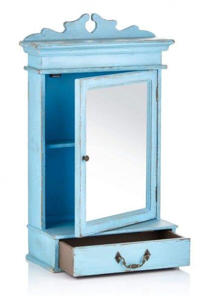Spiegelschrank Vintage Blau Im Luftigen Landhaus Look Spiegelschrank Landhauslook Mobel Spiegelschrank Spiegelschrank Bad Schrank