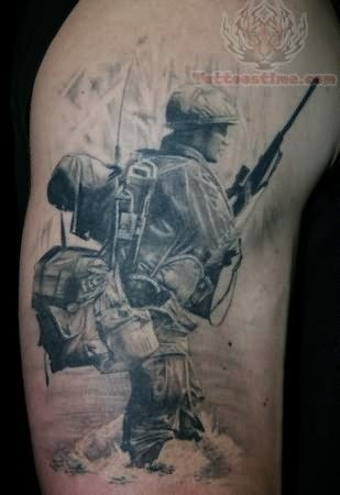 Soldier Angel Tattoo On Back Shoulder Soldier Tattoo Army Tattoos Back Tattoo