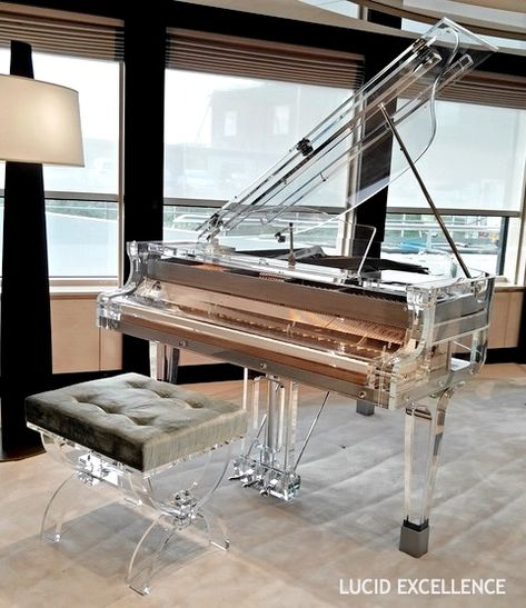 The Bluthner lucid piano cased in the purest acrylic in the world rates as the top Transparent grand piano on the market with European performance values. Piano Art, Piano Music, Grand Piano Room, Best Piano, Baby Grand Pianos, Music Aesthetic, Sweet Home, Room Decor, House Design