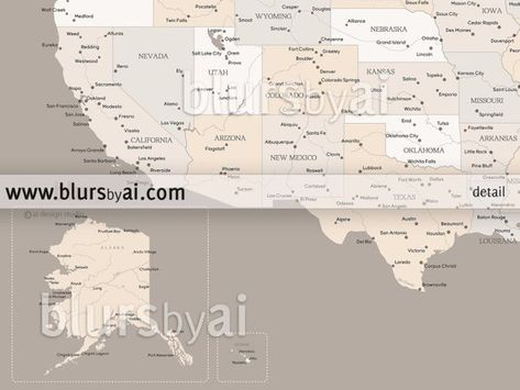 Custom quote, color & size - PRINTABLE US map with states and cities ...