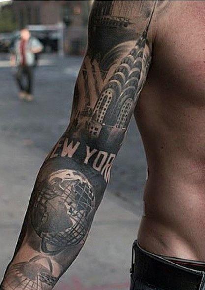 New York Sleeve Tattoo Ideas For Men Tattooideasmenssleeve Tattooideasformen Tattoo Sleeve Men Sleeve Tattoos Quarter Sleeve Tattoos