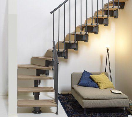 Escalier 2 4 Tournant Milieu Revers Acier Noir Long 12 Mar Orme Fonce L 80 Cm Pixima Escalier Prefabrique Escalier 2 4 Tournant Et Prefabrique