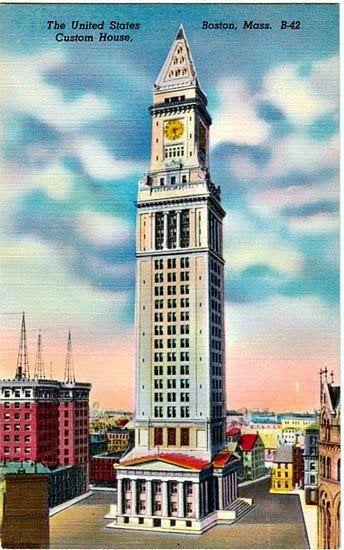 Vintage Boston Postcard The Custom House Tower Unused Etsy Custom Homes Boston History Marriott Hotels