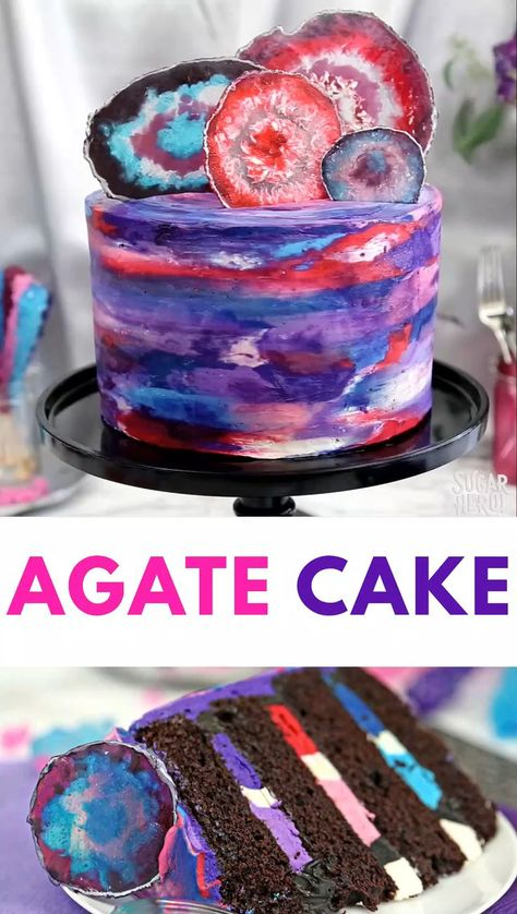 This Agate Cake features gorgeous, EDIBLE candy agate slices on top of a watercolor buttercream cake! It's a special occasion cake for birthdays, showers, or any time you need a dessert that's really a show piece!   From SugarHero.com #sugarhero #agate #layercake