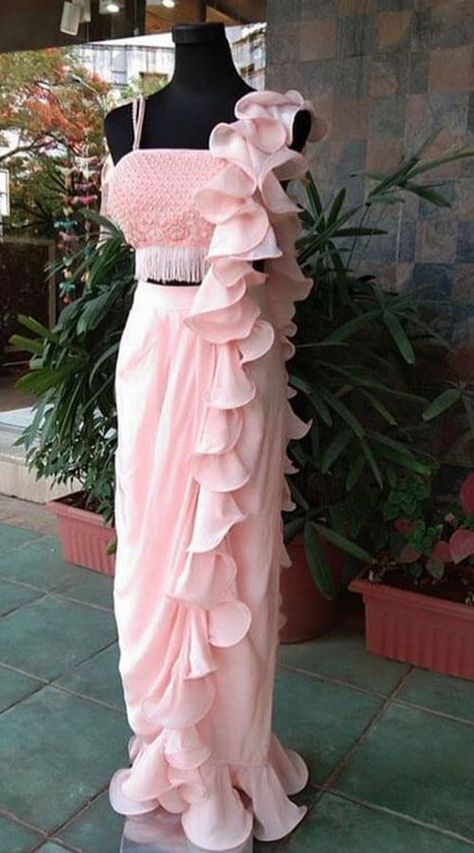 Light Pink One Color Soft Ruffle Saree for Birthday Party