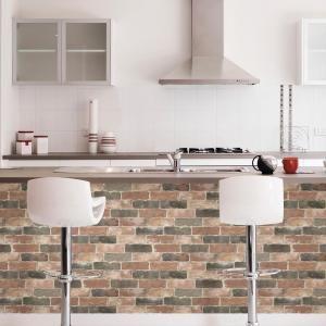 Nuwallpaper Newport Reclaimed Brick Peel And Stick Wallpaper Sample Nu2064sam The Home Depot Peel And Stick Wallpaper White Brick Wallpaper White Brick