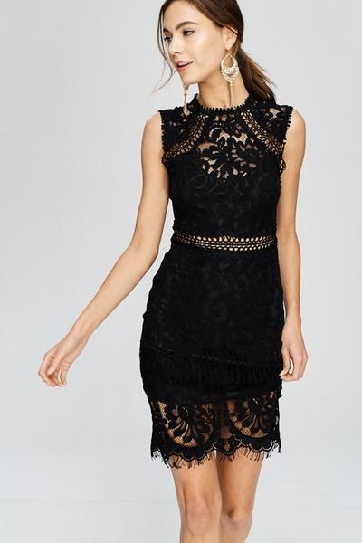 c293372c6b7b0 Wedding Guest Illusion Lace Mock-Neck Sheath Dress in 2019   other ...