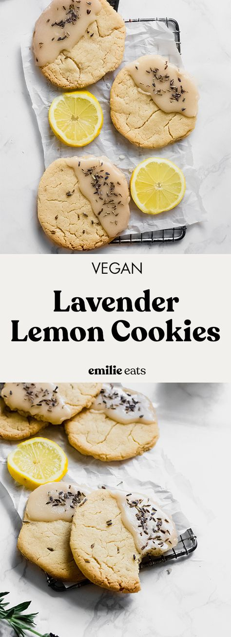 These zippy Vegan Lavender Lemon Cookies make a beautiful, delicious dessert for spring or summer. This batch of easy vegan cookies is ready to eat in under 1 hour.