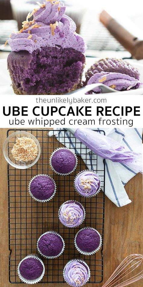 Ube cupcakes are little ube cakes packed with big ube flavour. Soft, dense and just the right amount of sweet. Top with ube whipped cream frosting and sprinkle with toasted shredded coconut for the ultimate Filipino treat. Filipino Dishes, Filipino Desserts, Asian Desserts, Filipino Recipes, Just Desserts, Delicious Desserts, Filipino Food, Purple Desserts, Hawaiian Desserts