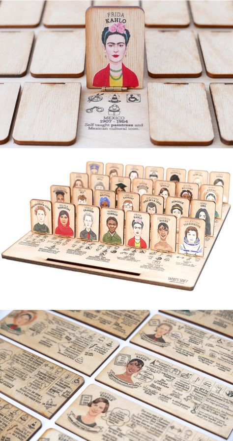 Who's She: A Laser-Cut Guessing Game That Celebrates Accomplished Women Throughout History Guess Who: Accomplished Women in History Version. Diy And Crafts, Crafts For Kids, Arts And Crafts, Guessing Games, Montessori Toys, Montessori Materials, Diy Games, Women In History, Diy Birthday