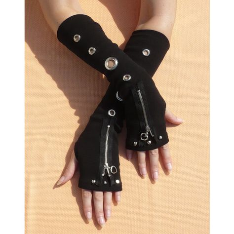 Black Gloves with Metal Grommets and Zipper, Gothic Cyber Armwarmers, Fingerless Unisex, Bondage and Punk, Visual Kei