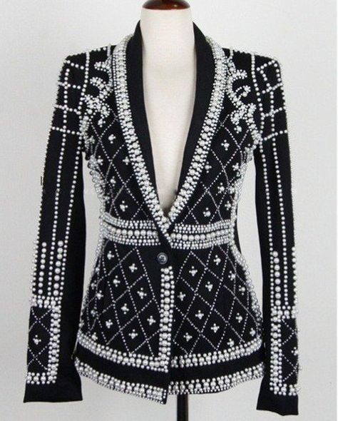 This black one-button jacket is a copy of Runway fashion. The ornament has … – Dance CostumesFaux-Pearl Embellished Blazer in BlackBeaded Elegant Jacket - Black / M: bust; length of jacketWomen Clothing Near Me Key: Block Off-Shou