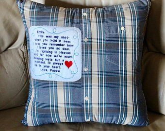Memory Pillow Keepsake Pillow From YOUR Loved Ones Shirt Grief Pillow