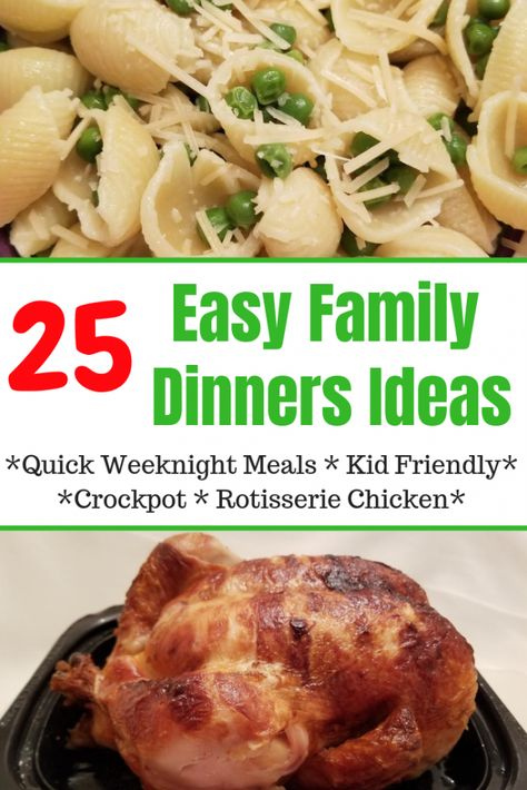 25 Easy Family Dinner Ideas that are quick weeknight meals perfect for kids. Don't stress after work this variety of healthy family friendly meals are pastas, rotisserie chicken, crockpot meals and more. #easyfamilydinnerideas, #familydinnerideas,     Every minute between your family, your career and the daily hustle and bustle is invaluable. You may not have much time to cook a healthy meal during this time. And in... #dinner #Easy #Family #Hacks #happy #Ideas #Meals #Mom #Quick #weeknight